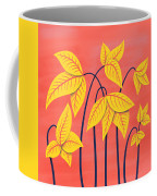 Abstract Flowers Geometric Art In Vibrant Coral And Yellow  Coffee Mug