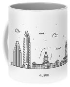 Austin Cityscape Travel Poster Coffee Mug