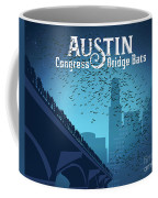 Austin Congress Bridge Bats In Blue Silhouette Coffee Mug