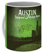 Austin Congress Bridge Bats In Green Silhouette Coffee Mug