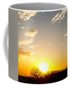 Autumn Sun Rising Over Barren Trees Coffee Mug