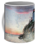 Bass Harbor Lighthouse On A Chart Coffee Mug