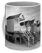 Beach Huts Sunset In Black And White Coffee Mug
