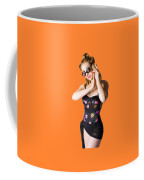 Beautiful 1950s Pinup Woman Listening To Sea Shell Coffee Mug