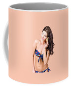 Beautiful Beach Babe Over Studio Background Coffee Mug