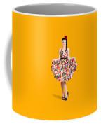 Beautiful Dancing Woman In Retro Red Dress Coffee Mug