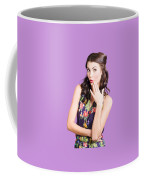 Beautiful Girl With Red Lips Expressing Surprise Coffee Mug