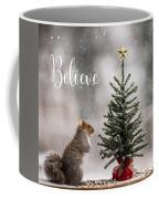 Believe Christmas Tree Squirrel Square Coffee Mug