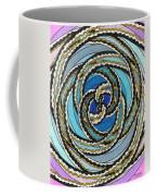 Black And White Fractal Design, Multicolored Background Coffee Mug
