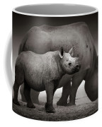 Black Rhinoceros Baby And Cow Coffee Mug