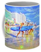 Blue Board Fast Into Ocean Coffee Mug