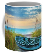 Blue Boat At Dawn Coffee Mug