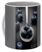 blueberries and a silver spoon on distressed wood No. 2 Coffee Mug