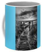 Boardwalk To The Sea In Radiant Black And White Coffee Mug
