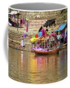 Boat And Bank Of The Narmada River, India Coffee Mug