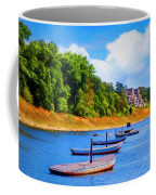 Boats At The Ferry Crossing Painting Coffee Mug