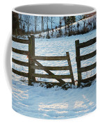Broken Fence In The Snow At Sunset Coffee Mug