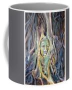 Buddha Head In Tree Roots Coffee Mug