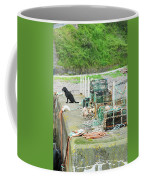Burnmouth Harbour With Dog On Pier And Lobster Pots Coffee Mug