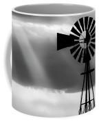 Bw Windmill And Crepuscular Rays -01 Coffee Mug by Rob Graham