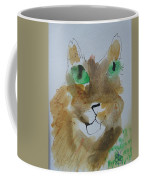 Cat Face Yellow Brown With Green Eyes Coffee Mug by AJ Brown