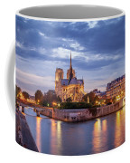 Cathedral Notre Dame And River Seine Coffee Mug
