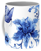 Chinoiserie Blue And White Pagoda With Stylized Flowers Butterflies And Chinese Chippendale Border Coffee Mug