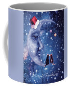 Christmas Card With Smiling Moon And Cats Coffee Mug