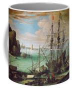 Coastal Landscape With Harbor  Coffee Mug