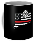 Connecticut Firefighter Shield Thin Red Line Flag Coffee Mug