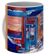 Corner Cafe Clark And Fairmount Wilensky's Winter Scene Habs Hockey Art C Spandau Quebec Artist Coffee Mug