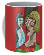 Couple In Front Of Red Wall Coffee Mug