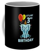 Cute 3rd Third Birthday Elephant Coffee Mug
