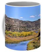 Distant Boat On The San Juan River In Fall Coffee Mug
