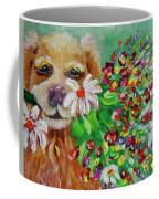 Dog With Flowers Coffee Mug by Jacqueline Athmann