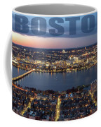 Downtown Boston At Night With Charkes River In The Middle Coffee Mug by PorqueNo Studios