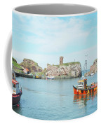Dunbar Castle Ruins, Harbour And Fishing Boats Coffee Mug