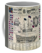 Early 18th Century British Man Of War Ship Diagram Coffee Mug