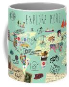 Exlore More World Map Coffee Mug