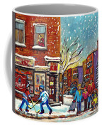 Face Off Street Hockey At The Corner Dep Snow Falling Streets Of Montreal Quebec Artist C Spandau Coffee Mug