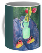 Flowers In A Green Vase On Purple Cloth Coffee Mug