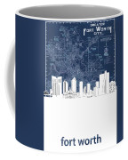 Fort Worth Skyline Map Blue Coffee Mug