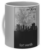 Fort Worth Skyline Map Grey Coffee Mug