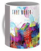 Fort Worth Skyline Panorama Watercolor 2 Coffee Mug