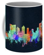 Fort Worth Skyline Watercolor Black Coffee Mug