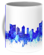 Fort Worth Skyline Watercolor Blue Coffee Mug