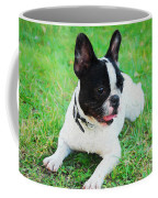 French Bulldog Puppy In The Grass - Painted Coffee Mug by Ericamaxine Price