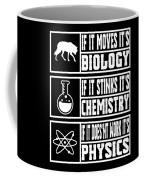 Funny Science Teacher Shirt Physics Chemistry And Biology Meme Coffee Mug