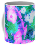 Garden Flowers In Pink, Green And Blue Coffee Mug