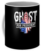 Ghost Elected Cute Halloween Spirit In American Flag Dark Coffee Mug